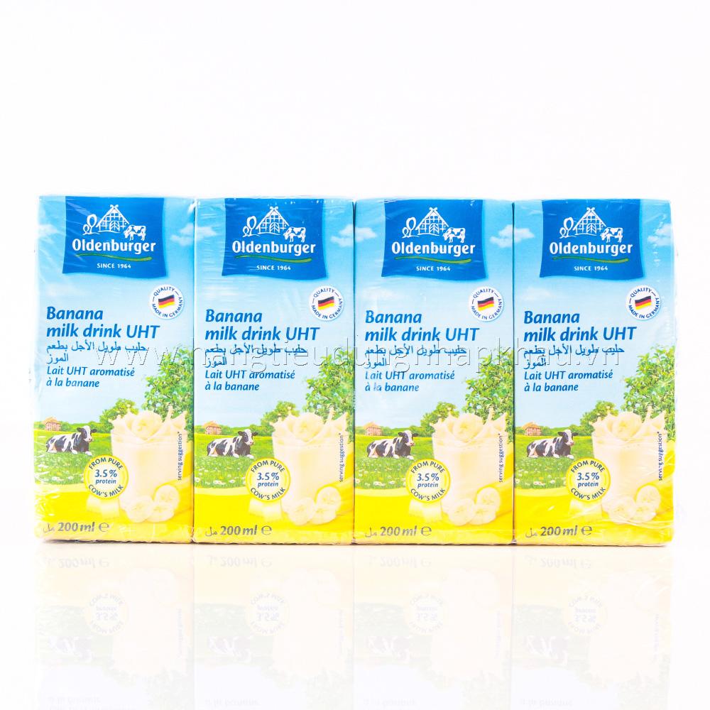 Sữa Tươi Tiệt Trùng Oldenburger Vị Chuối (200ml x 4 Hộp)