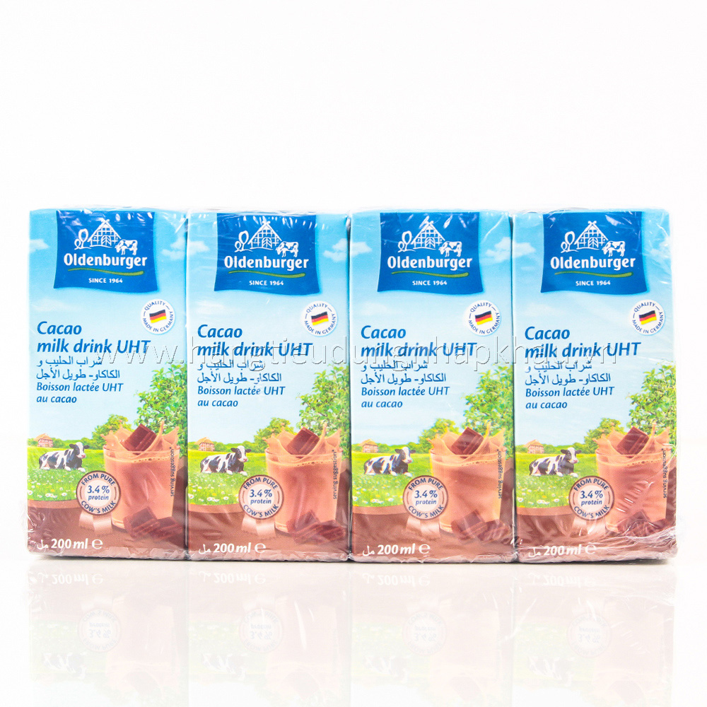 Sữa Tươi Tiệt Trùng Oldenburger Vị Socola (200ml x 4 Hộp)