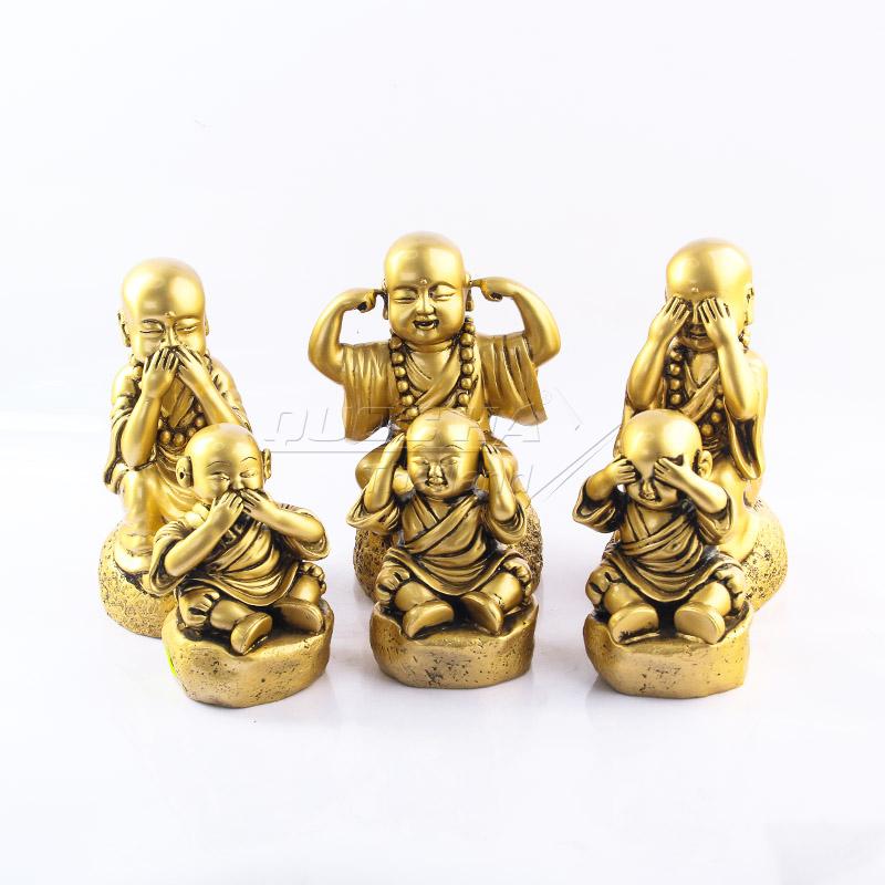 Tượng Gốm Chú Tiểu Mạ Vàng
